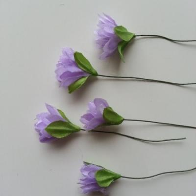 lot de  5 fleurs artificielles en tissu mauve sur tige