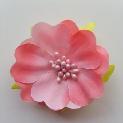 fleur tissu et pistils  50mm abricot