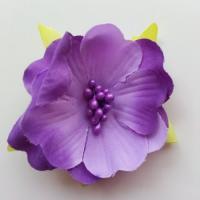 fleur tissu et pistils  50mm violet