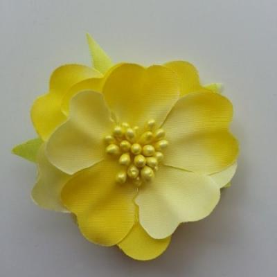 fleur tissu et pistils  50mm jaune