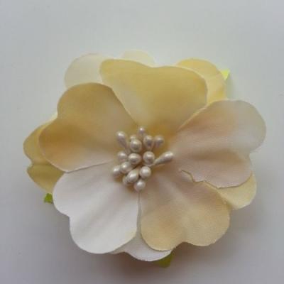 fleur tissu et pistils  50mm beige