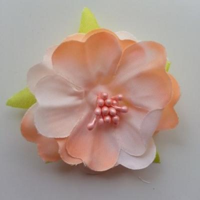 fleur tissu et pistils  50mm peche