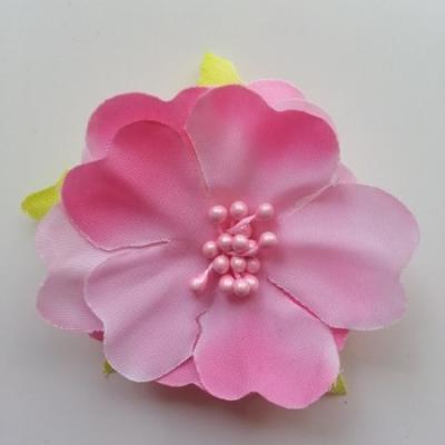 fleur tissu et pistils  50mm rose