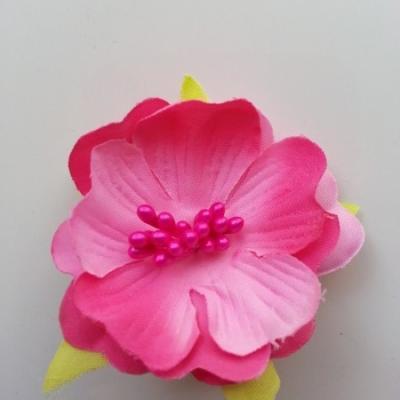 fleur tissu et pistils  50mm rose fuchsia
