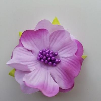 fleur tissu et pistils  50mm mauve