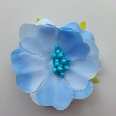 fleur tissu et pistils  50mm bleu