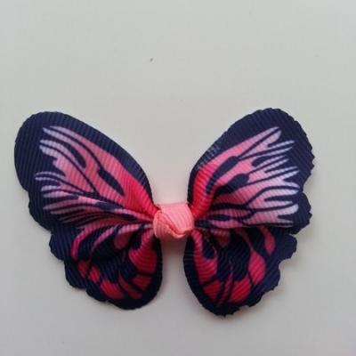 Noeud en tissu imitation papillon 57*52mm rose et bleu marine