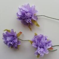 lot de 3 fleurs en tissu et pistils sur tige 40mm mauve
