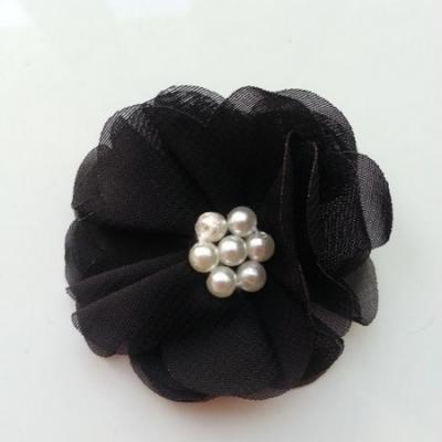 fleur mousseline centre perle 55mm noir