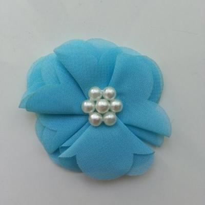 fleur mousseline centre perle 55mm  bleu
