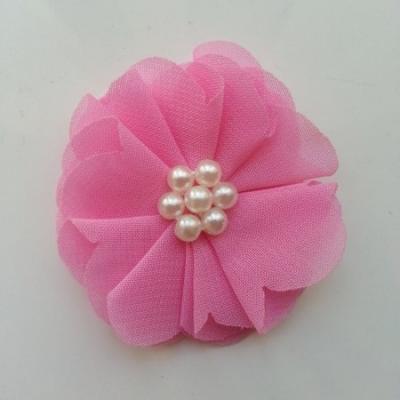 fleur mousseline centre perle 55mm rose