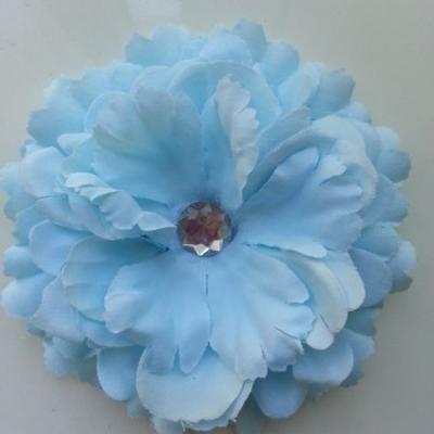 Grande fleur en tissu 110mm avec strass bleu ciel