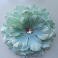 Grande fleur en tissu 110mm avec strass vert pastel