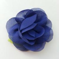 Fleur en mousseline avec feuille  50mm bleu marine