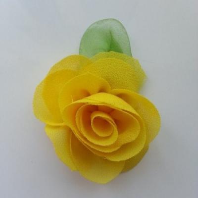 Fleur en mousseline avec feuille  50mm jaune