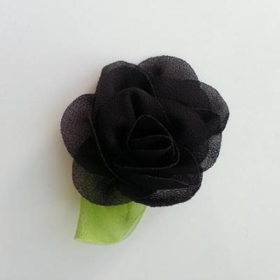 Fleur en mousseline avec feuille  50mm noir