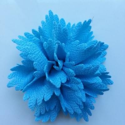 fleur en tissu bleu  80mm