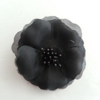 Applique fleur tissu et pistils  noir  60mm