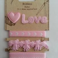 """lot de 3 ruban 0.45cm + 2 patchs à coudre """"love"""" rose"""