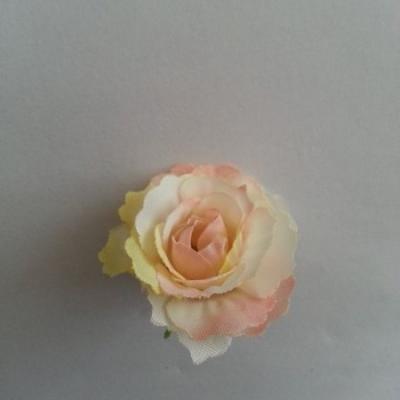 fleur en tissu 35mm ivoire et pêche