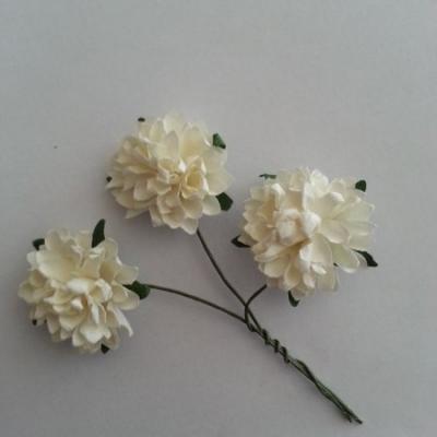 lot de 3 fleurs en papier sur tige ivoire 2.5cm