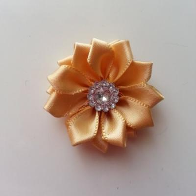 Applique fleur satin strass  35mm beige
