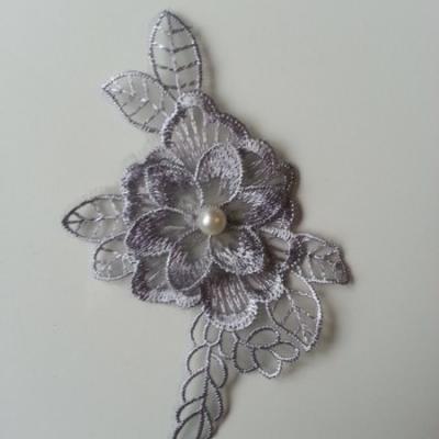 applique fleur en dentelle gris 12*8cm