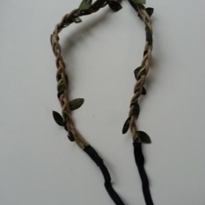 bandeau cordon tressé feuillage marron clair  et vert