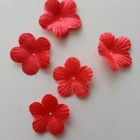 Lot de 5 fleurs en tissu  35mm rouge