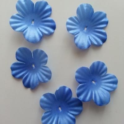 Lot de 5 fleurs en tissu  35mm bleu