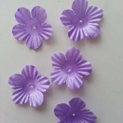Lot de 5 fleurs en tissu  35mm mauve