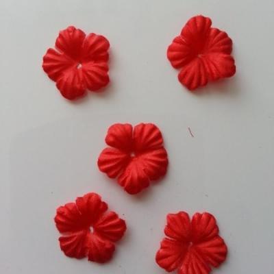 Lot de 5 fleurs en tissu  30mm  rouge