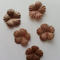 Lot de 5 fleurs en tissu  30mm marron