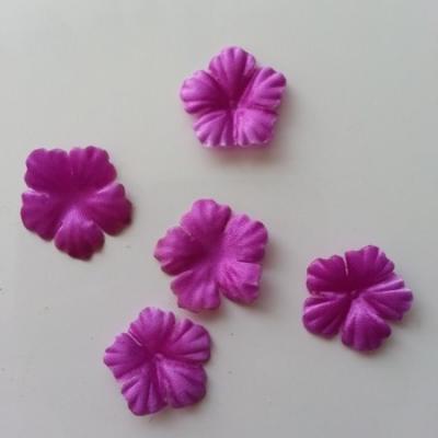 Lot de 5 fleurs en tissu  30mm violet