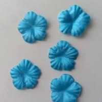 Lot de 5 fleurs en tissu  30mm bleu turquoise