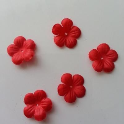 Lot de 5 fleurs en tissu  20mm rouge