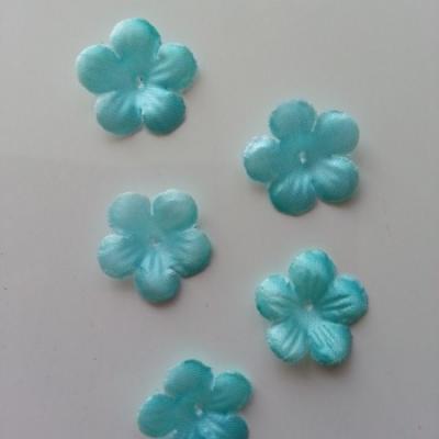Lot de 5 fleurs en tissu  20mm bleu vert