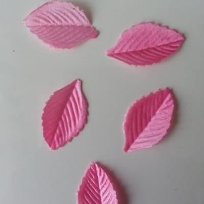 Lot de 5 feuilles en tissu  30*15mm rose