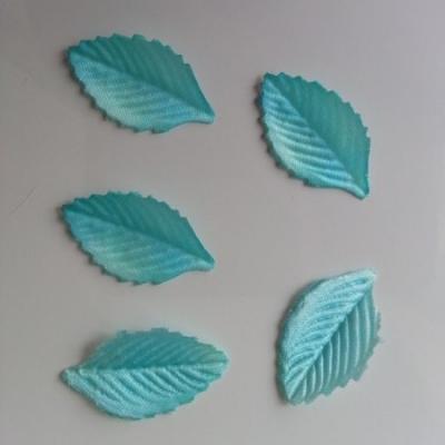 Lot de 5 feuilles en tissu  30*15mm bleu