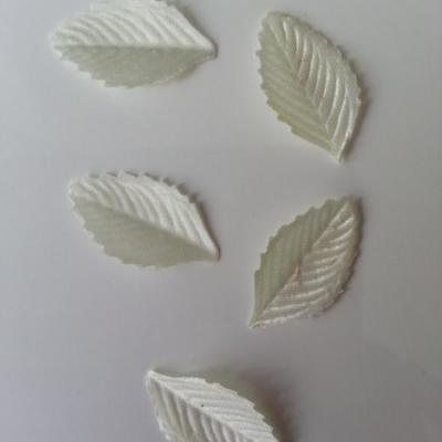 Lot de 5 feuilles en tissu  30*15mm ivoire