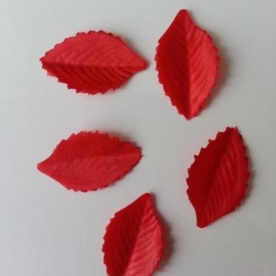 Lot de 5 feuilles en tissu  30*15mm rouge