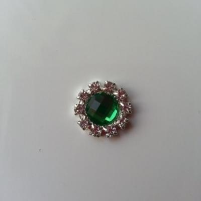 Embellissement strass vert et argent 14mm