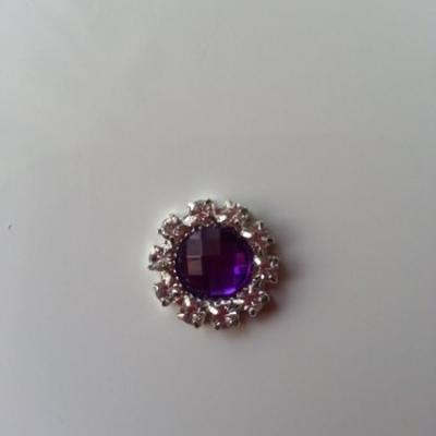 Embellissement strass violet et argent 14mm