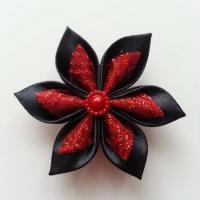 Fleur satin noire et organza rouge pailleté  5cm