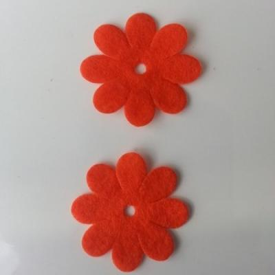 Lot de 2  fleurs feutrine 35mm orange