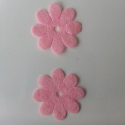 Lot de 2  fleurs feutrine 35mm rose