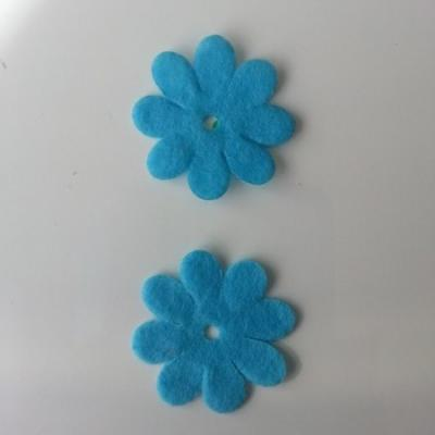 Lot de 2  fleurs feutrine 35mm bleu