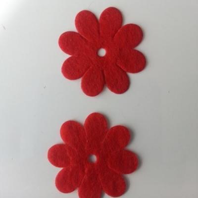 Lot de 2  fleurs feutrine 35mm rouge