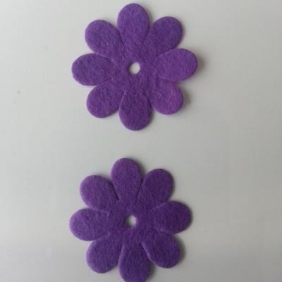 Lot de 2  fleurs feutrine 35mm violet