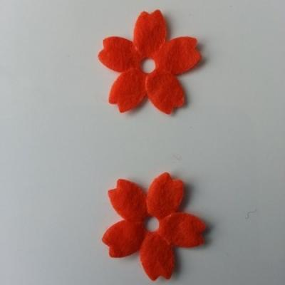 Lot de 2 fleurs en feutrine   25mm orange